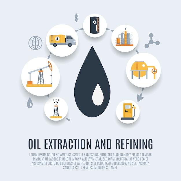 Icône plate de l'industrie pétrolière Vecteur gratuit
