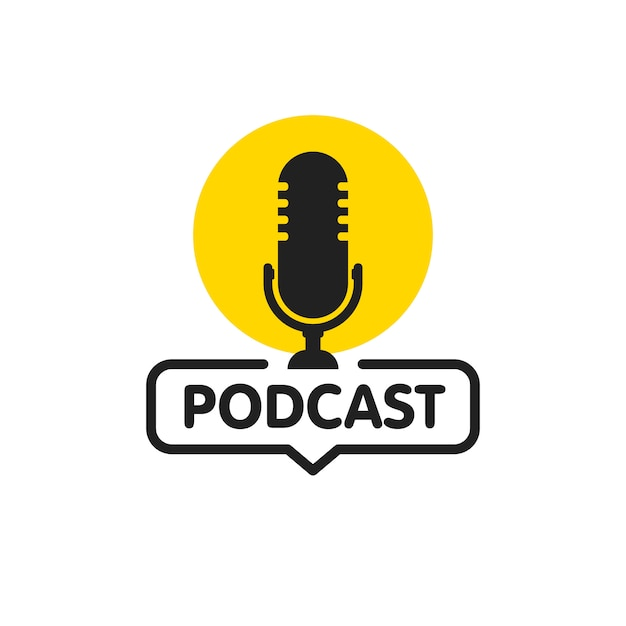 Icône Plate De Podcast Vecteur Premium