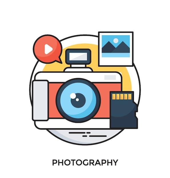 Icône Plate De Vecteur De Photographie Vecteur Premium
