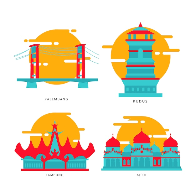 Icône de point de repère de la ville indonésienne Vecteur Premium