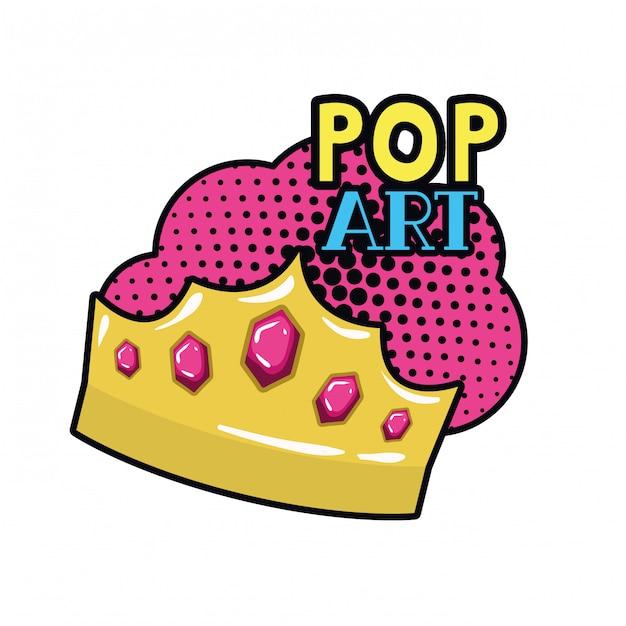Icône pop art de la couronne d'or Vecteur Premium