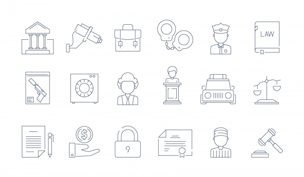 Icône De Protection De La Loi. Avocat Justice Juridique Entreprise Jugement Vecteur Mince Linéaire Symboles Vecteur Premium