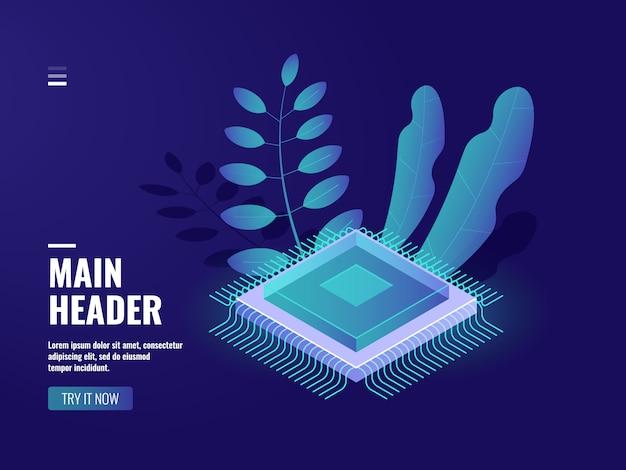 Icône de puce microélectronique, processus informatique, salle des serveurs, stockage en nuage Vecteur gratuit