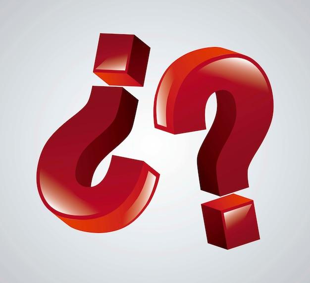Icône de la question 3d sur illustration vectorielle fond gris Vecteur Premium