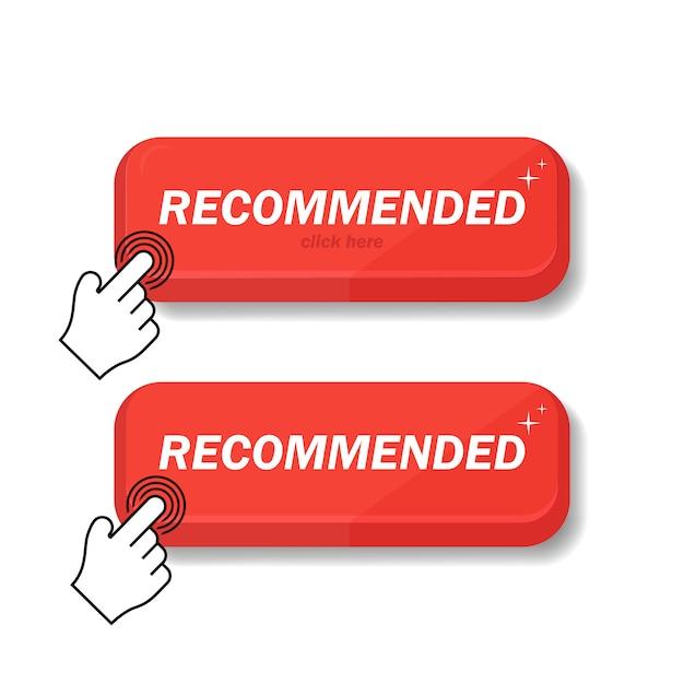 L'icône Recommandée Est Rouge. Je Recommande Un Clic Au Client. Je Recommande La Marque Linéaire Avec Une Pression D'un Jour Sur Le Doigt. Signez La Marque Recommandée. Le Meilleur Tag Pour Une Grande Marque. Vecteur Premium