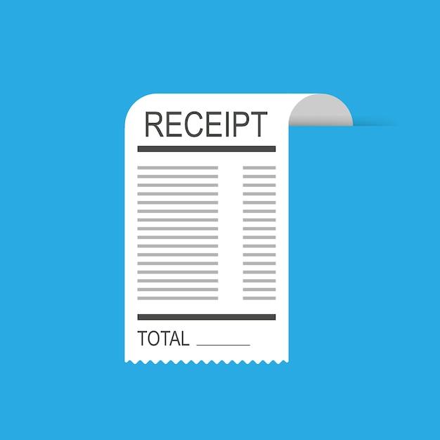Icône de reçu dans un style plat isolé. facture compte Vecteur Premium