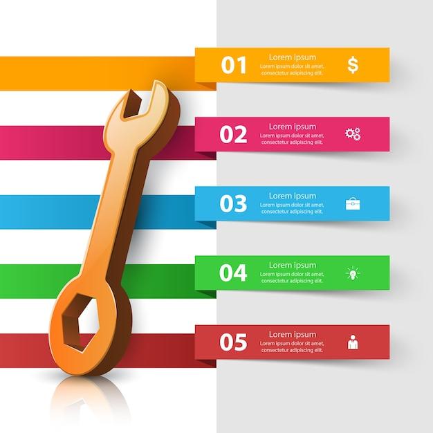 Icône de réparation infographie de l'entreprise Vecteur Premium