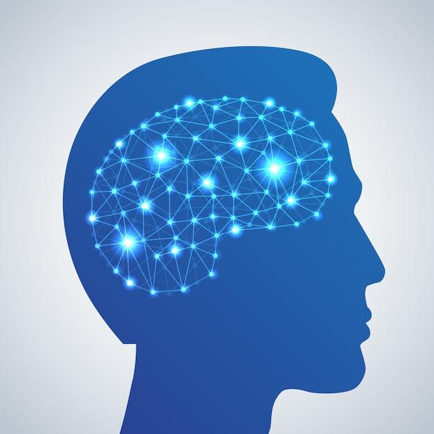 Icône de réseau de cerveau Vecteur gratuit