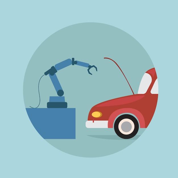 Icône robotique moderne de voiture de réparation de bras, technologie futuriste de mécanisme d'intelligence artificielle Vecteur Premium