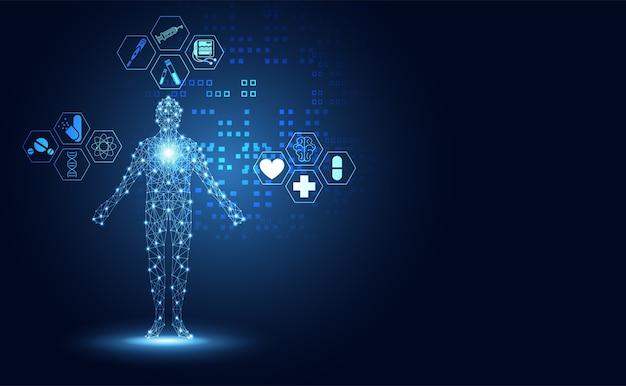 Icône de la santé humaine abstraite icône de la santé Vecteur Premium