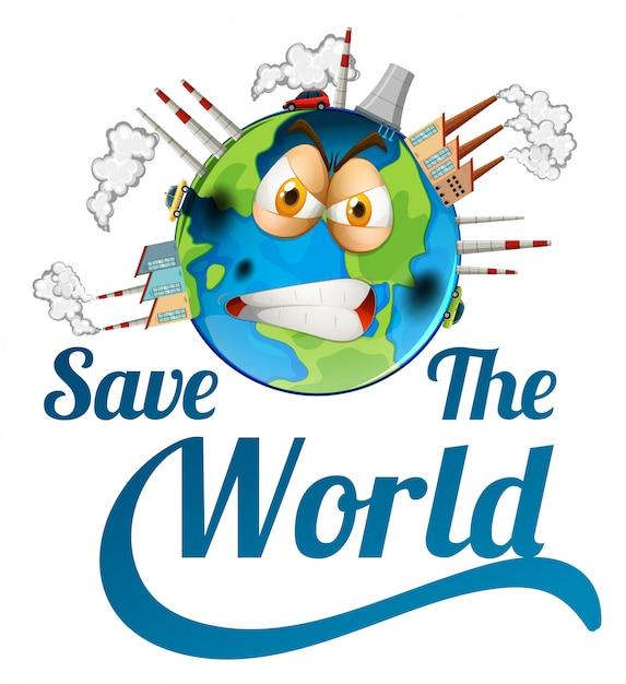 Icône sauver le monde Vecteur gratuit
