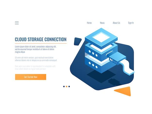 Icône de service en nuage, système de sauvegarde et de stockage de données à distance via une bannière, salle des serveurs Vecteur gratuit