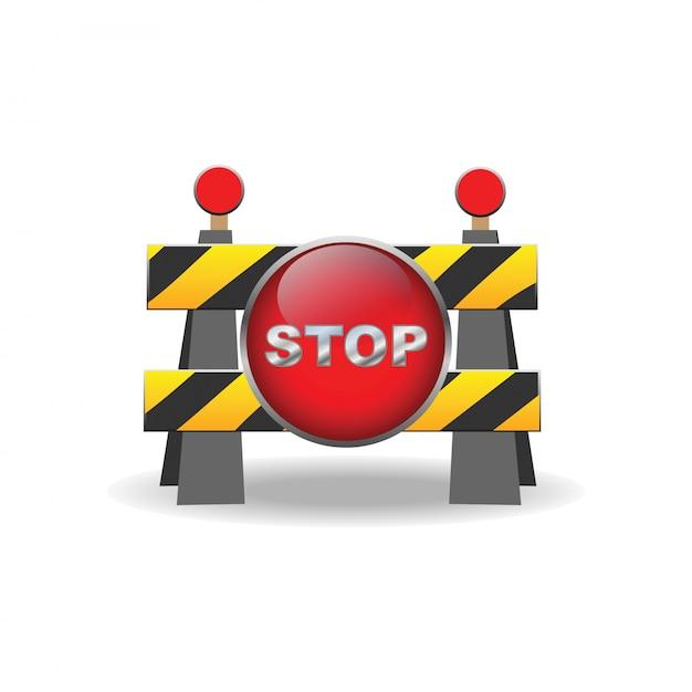 Icône de signe de barrière routière Vecteur Premium