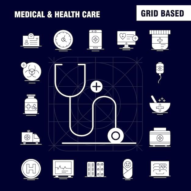 Icône solide médical et des soins de santé Vecteur gratuit