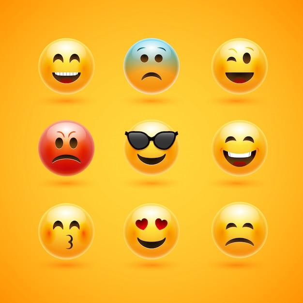 Icone De Sourire Visage Emoticone Emotion Happy Emoji Expression Personnage De Dessin Anime Vecteur Premium