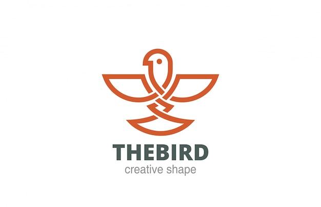 Icône De Style Linéaire Celtic Abstract Bird Logo. Vecteur gratuit