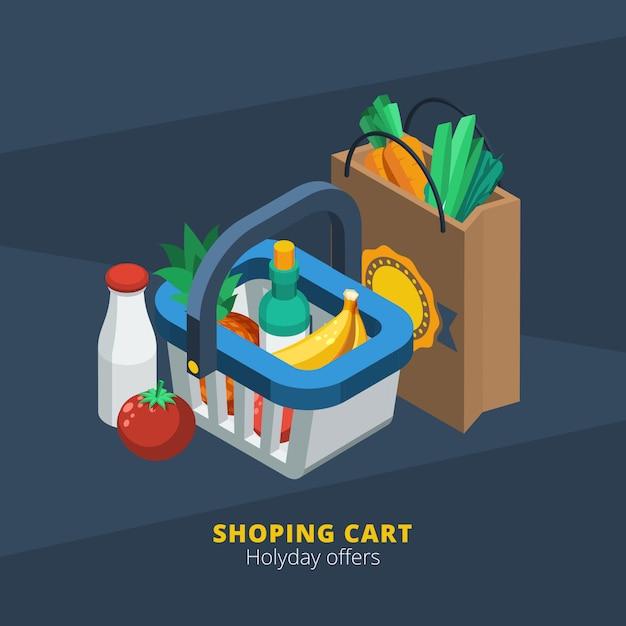 Icône de supermarché isométrique Vecteur gratuit