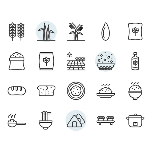 Icône Et Symbole De Riz Dans Le Contour Vecteur Premium