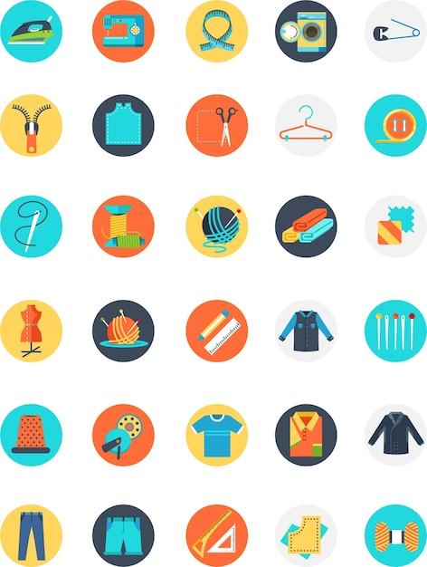 Icône de tailleur coloré avec de nombreux objets et de nombreuses tailles Vecteur Premium