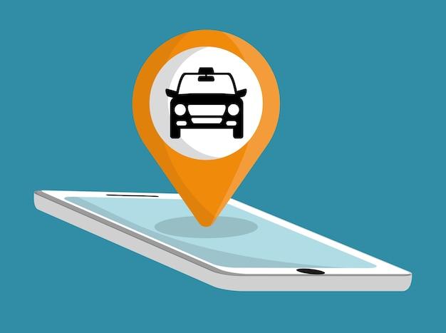 Icône de taxi de voiture. conception des transports publics. taxi. style plat Vecteur Premium