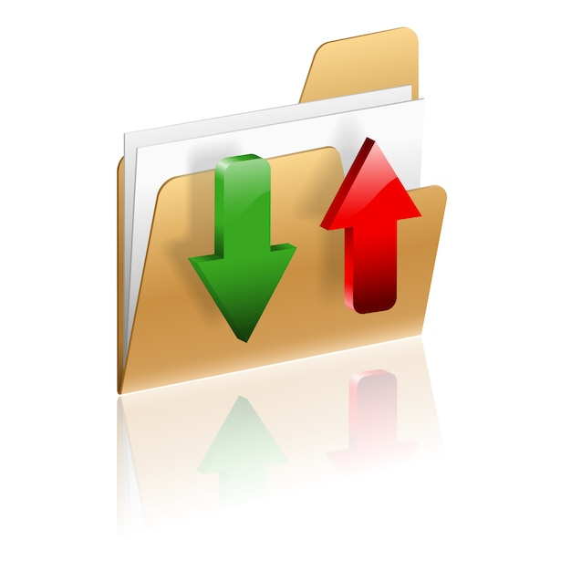 Icône télécharger et télécharger un dossier Vecteur Premium