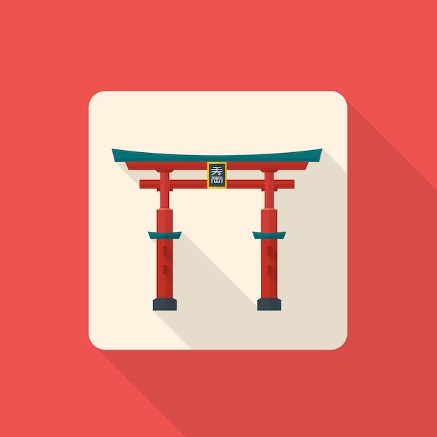 Icône de torii porte japonaise traditionnelle avec ombre Vecteur Premium