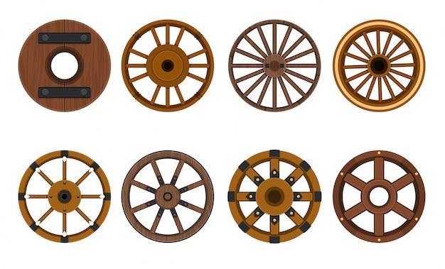Icône de vecteur de dessin animé de roue en bois. chariot d'illustration vectorielle de la roue. roue d'icône isolé bande dessinée pour wagon. Vecteur Premium