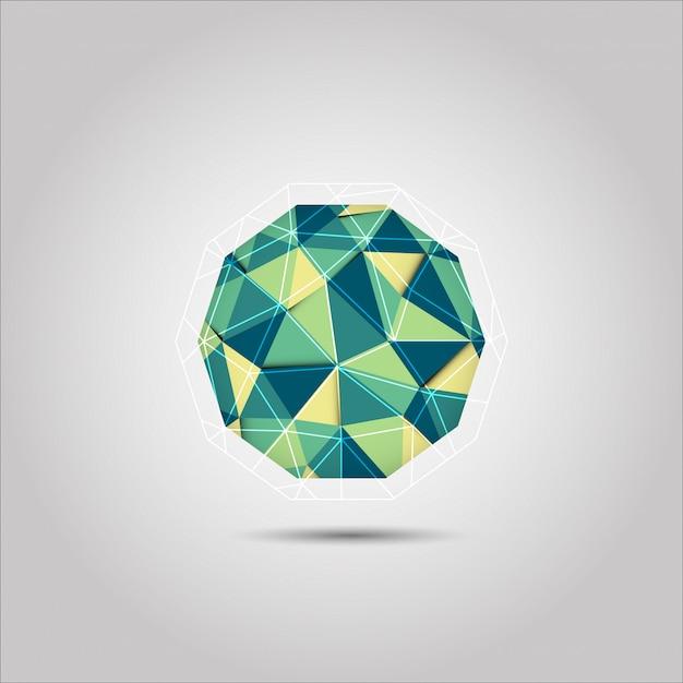 Icône de vecteur forme sphère verte et jaune mosiac polygone Vecteur Premium