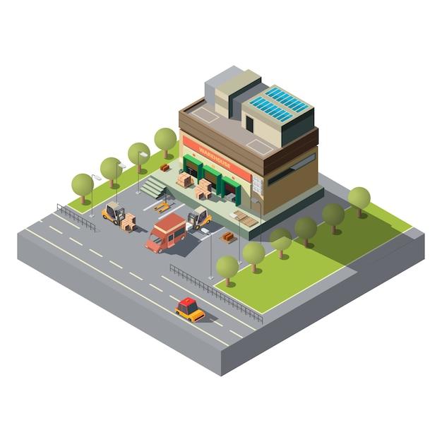 Icône de vecteur isométrique entrepôt société postale Vecteur gratuit