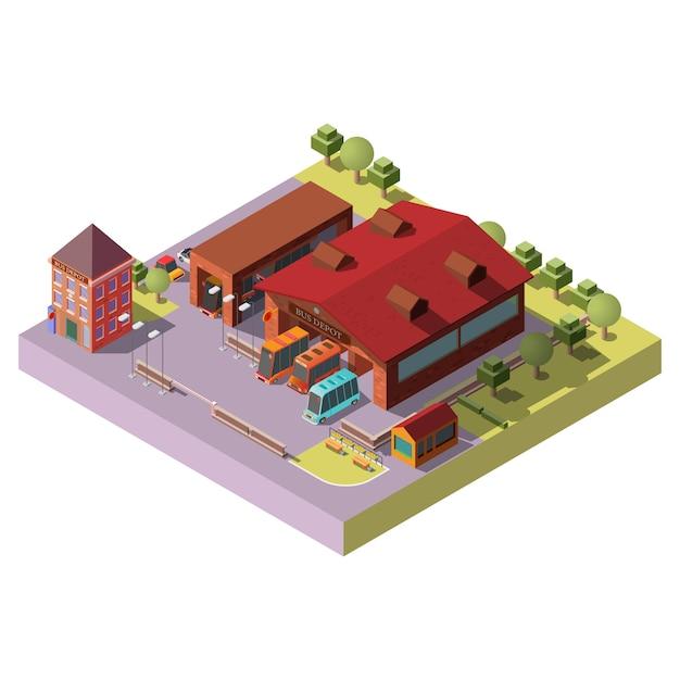 Icône de vecteur isométrique extérieur bâtiment bus depot Vecteur gratuit