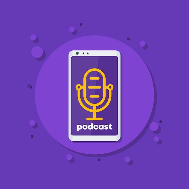 Icône De Vecteur De Podcast Avec Micro Et Téléphone Vecteur Premium