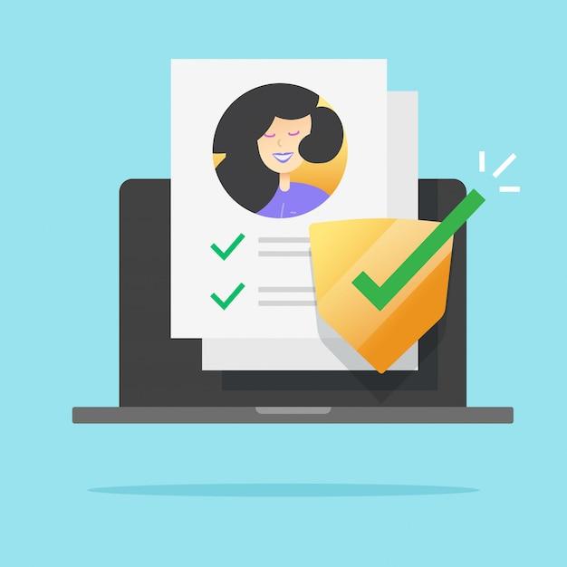 Icône De Vérification De La Protection De La Sécurité Des Données Personnelles Vecteur Premium