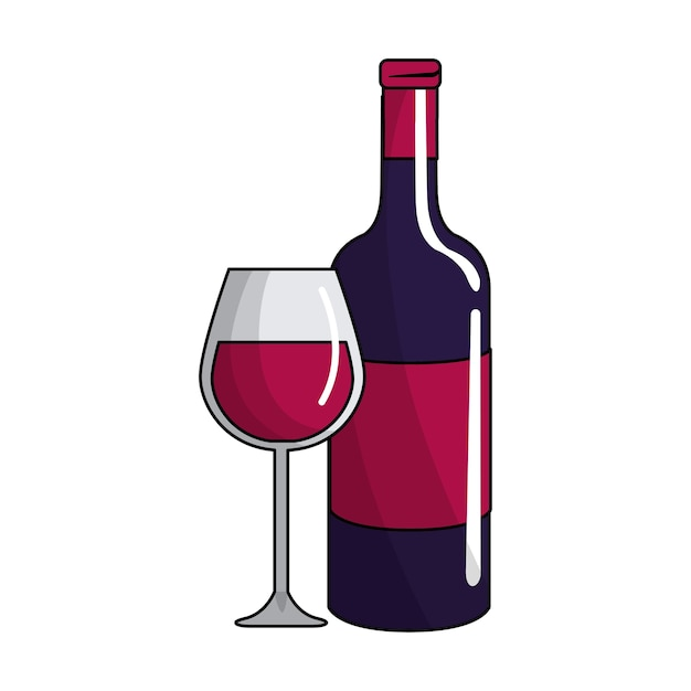 Icône De Verre Et Bouteille De Vin | Vecteur Premium