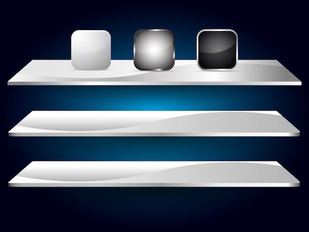 Icône vide de couleur blanche, grise, noire pour application web Vecteur Premium