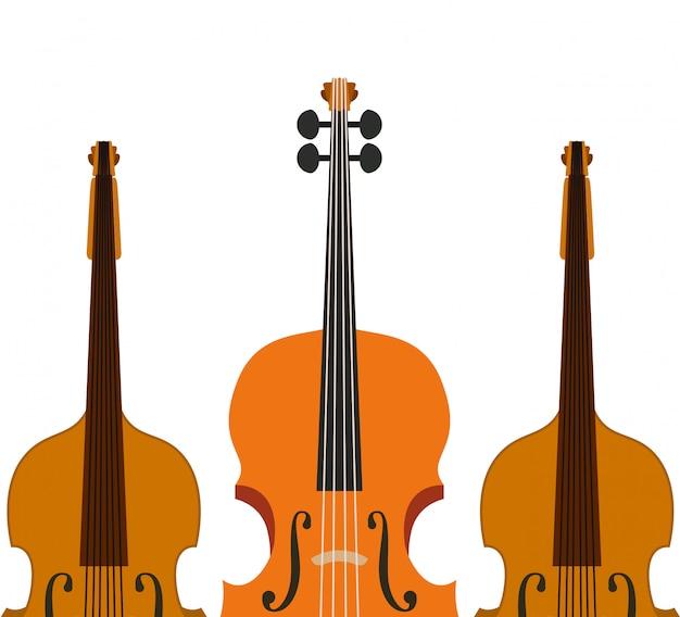 Icône de violon d'instrument de musique Vecteur Premium