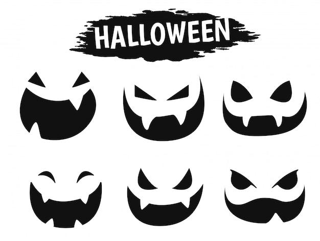 Icône de visage émotionnel montrant une variété d'ombres pendant la saison d'halloween. Vecteur Premium