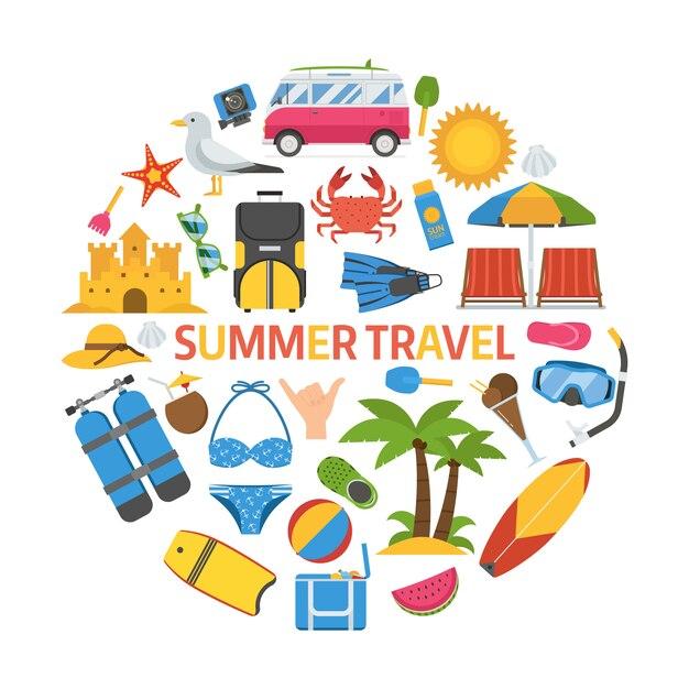 Icône De Voyage D'été En Forme De Cercle. Vecteur Premium