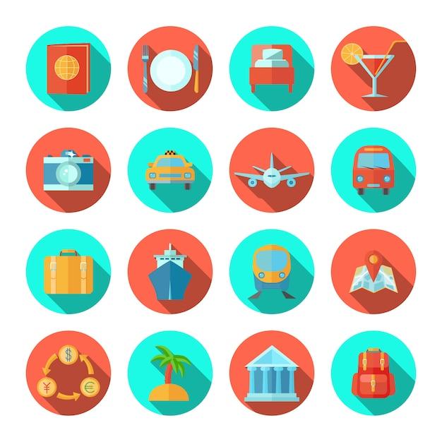Icône de voyage plat sertie de symboles de vacances touristique et d'été isolé illustration vectorielle Vecteur Premium