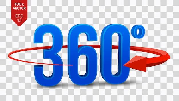 Icône De Vue 3d Angle 360 Degrés Isolé Sur Fond Transparent. Vecteur Premium