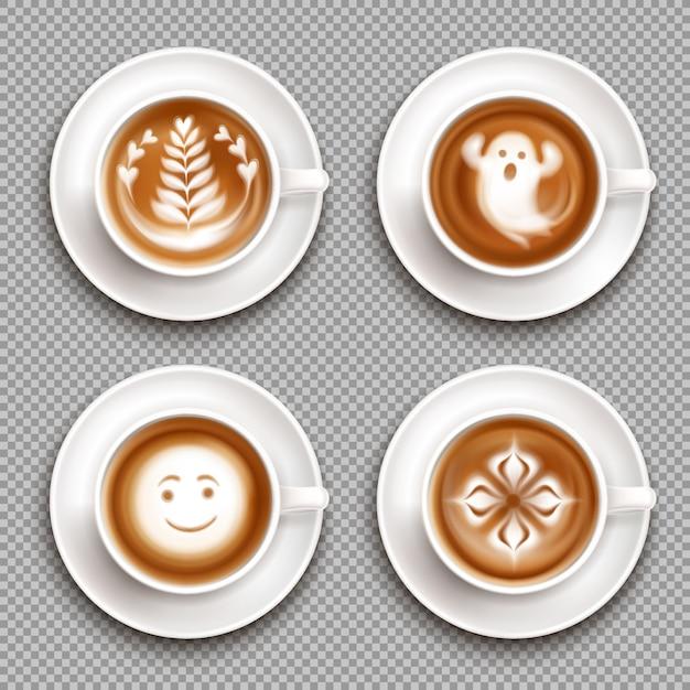Icône De Vue De Dessus Latte Art Coloré Sertie D'art Dans Des Tasses Et Illustration Transparente Vecteur gratuit
