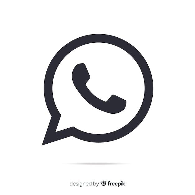 Icône Whatsapp Noir Et Blanc Vecteur gratuit