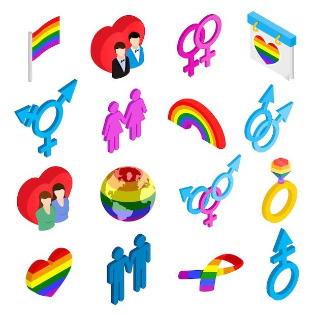 Icônes 3d isométriques gay pride Vecteur Premium