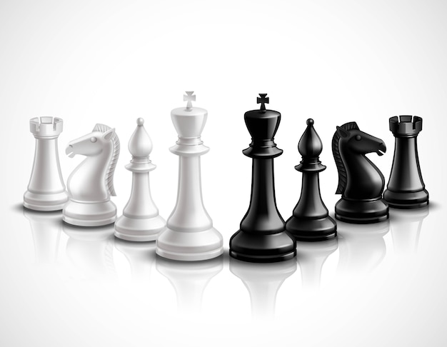 Icônes 3d de pièces d'échecs réalistes sertie de réflexion Vecteur gratuit
