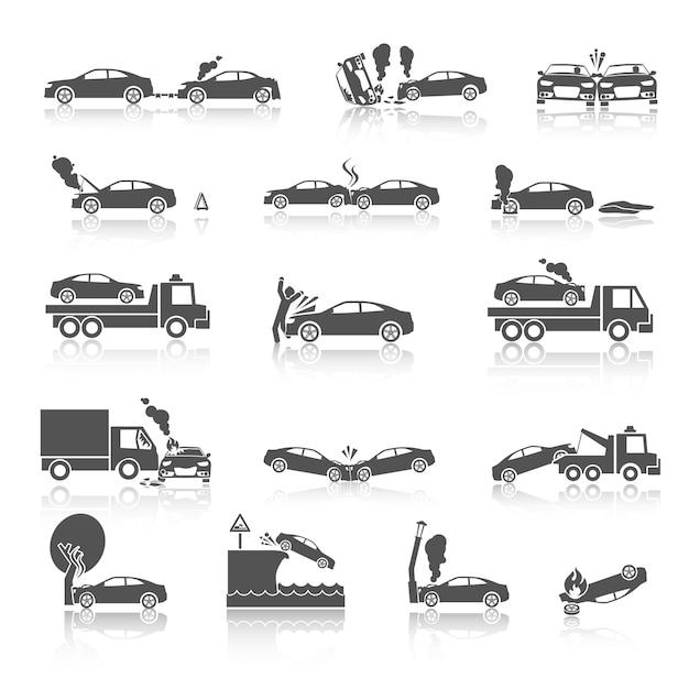 Icônes d'accident de voiture noir et blanc Vecteur Premium