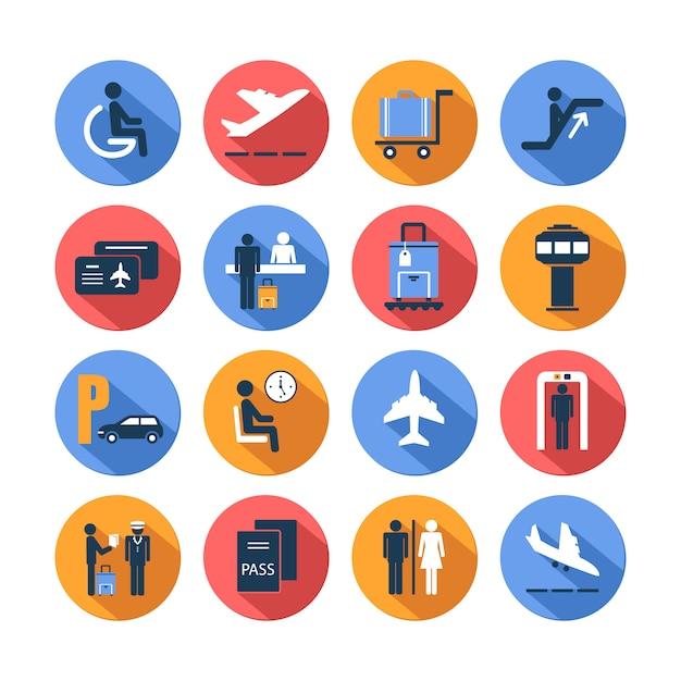 Icônes de l'aéroport de couleur mis Vecteur Premium