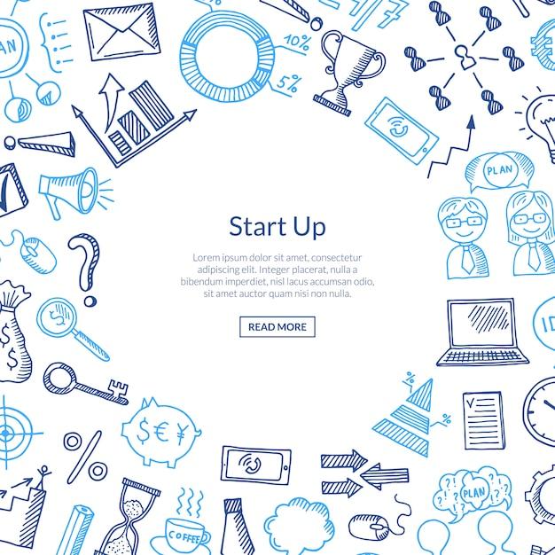 Icônes d'affaires en cercle Vecteur Premium