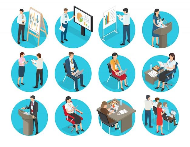 Icônes d'affaires avec des employés de bureau définis. hommes et femmes d'affaires montrent la présentation, en tapant sur un ordinateur portable et parle depuis le podium Vecteur Premium
