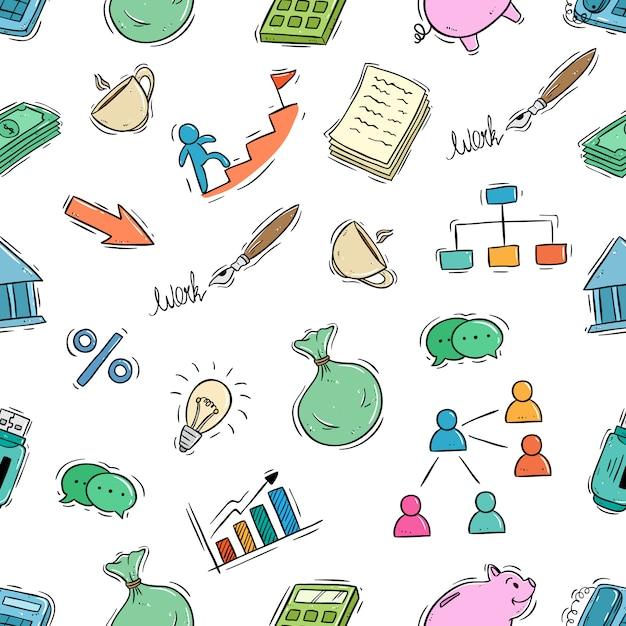 Icônes d'affaires mignons dans un modèle sans couture avec le style de doodle Vecteur Premium