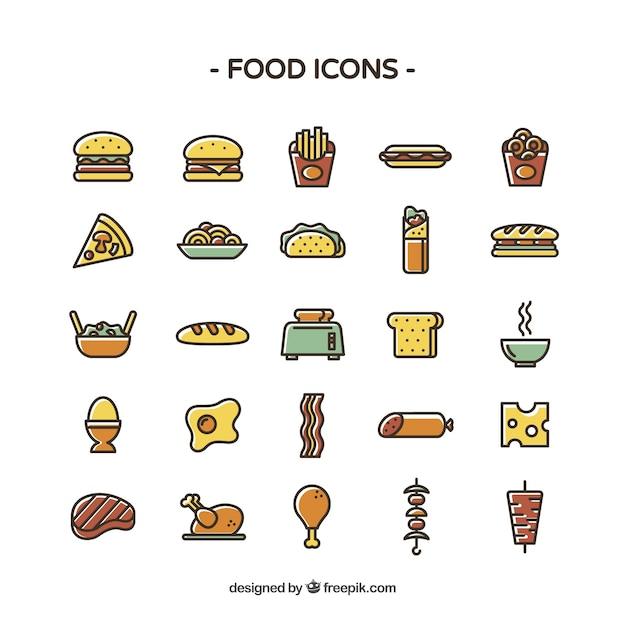 Icônes Alimentaires Colorés Vecteur gratuit