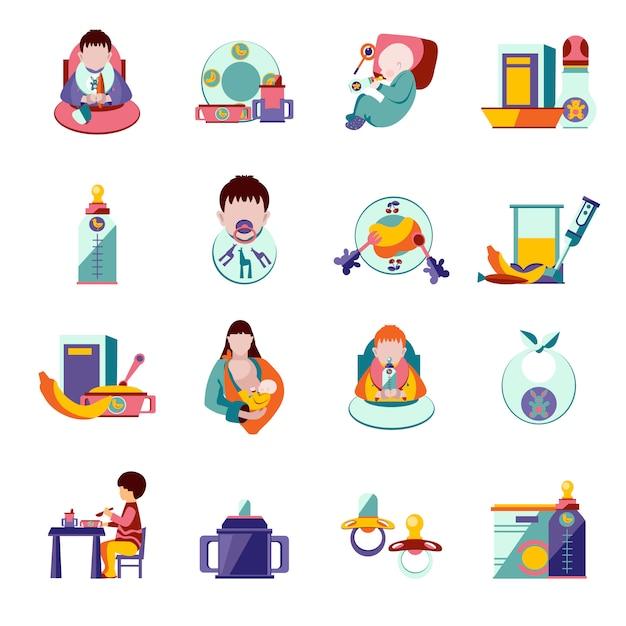 Icônes d'alimentation du bébé Vecteur gratuit
